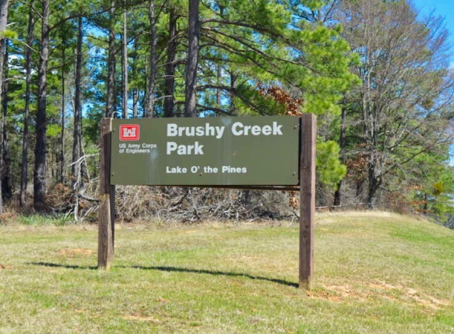 entrance area to Brushy Creek Park at Lake O' the Pines in East Texas