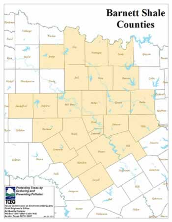 Map of the Texas counties in which the Barnett Shale is located