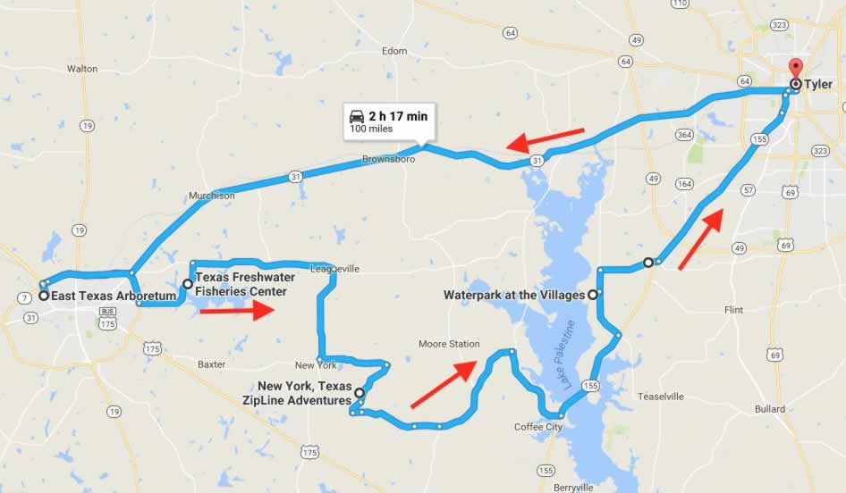 Route and map of the East Texas Outdoor Adventure road trip