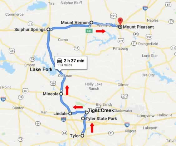 Route and map of the East Texas Road Trip in Northern Upper East Texas