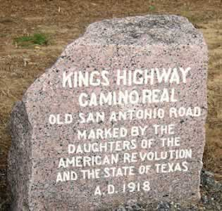 Marker designating the Kings Highway, the Old San Antonio Road, in East Texas