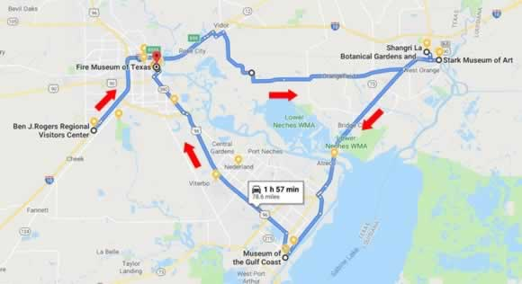Route and map a road trip through the Golden Triangle of Texas, from Beaumont to Orange to Port Arthur
