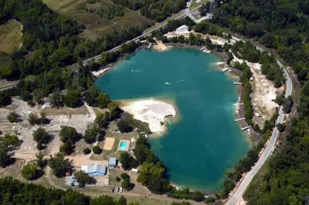 Aerial view of the Athens, Texas Scuba Park