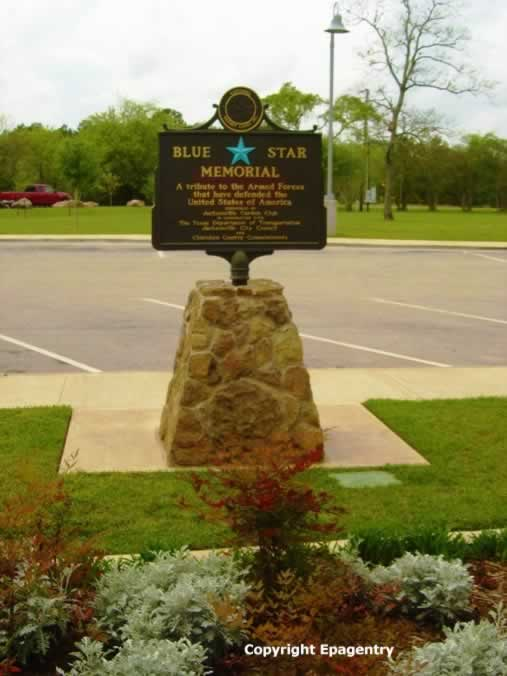 Blue Star Memorial Sign at Love's Lookout, Jacksonville, Texas