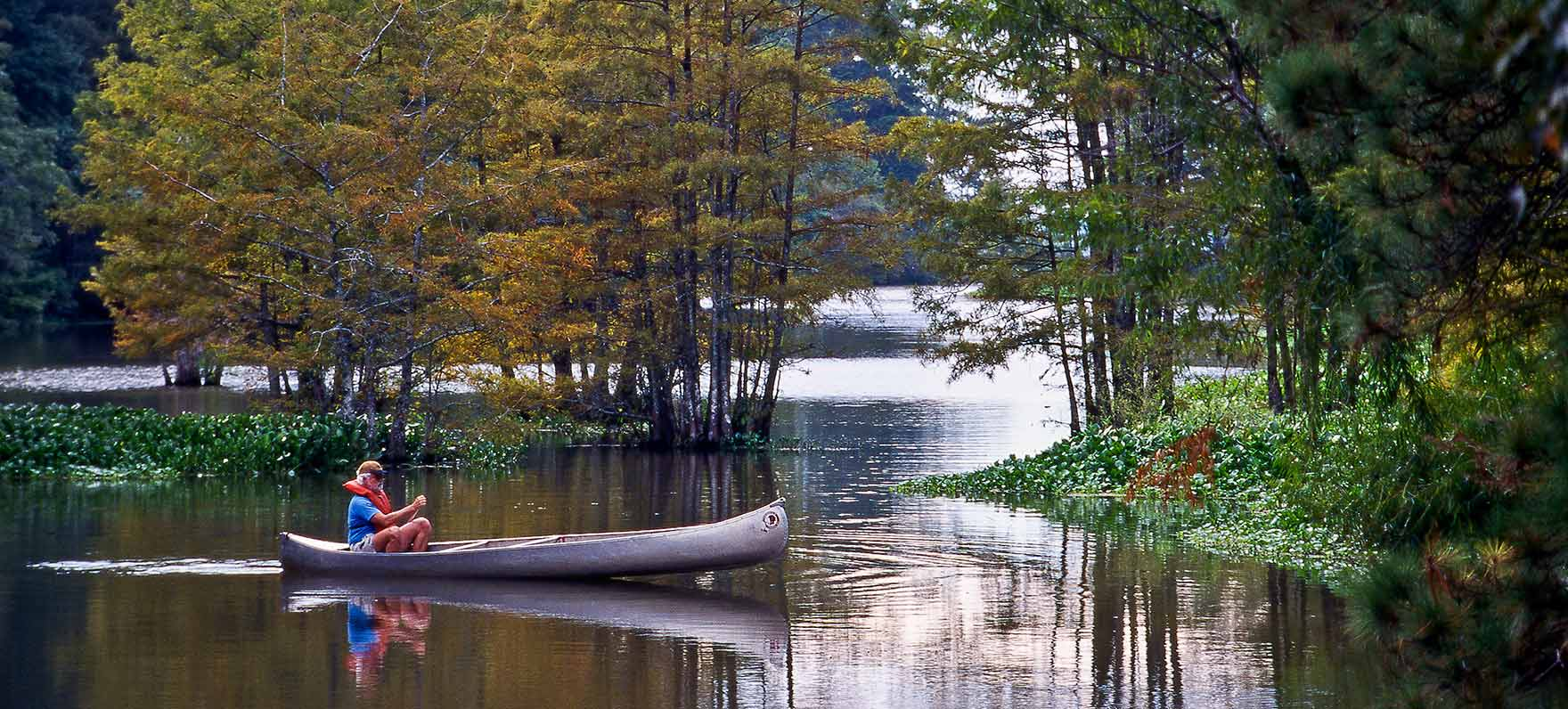 Canoe ride on the quiet waters at Martin Dies, Jr. State Park in Texas
