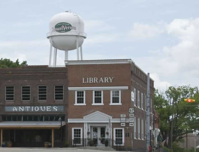 Scene in downtown Mount Vernon, Texas, showing the Library and water tower