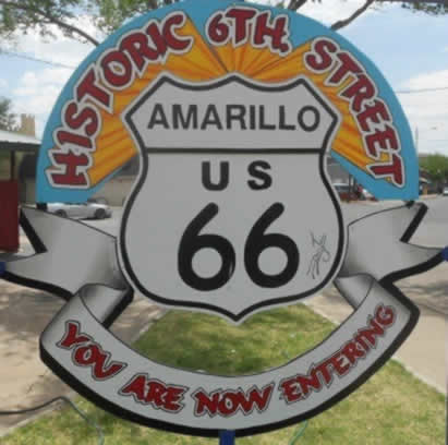 Historic 6th Street in Amarillo, Texas, on U.S. Route 66
