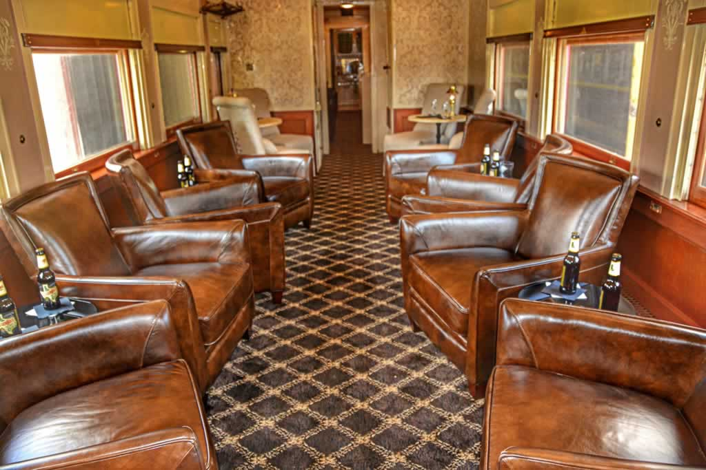 Inside one of the luxurious Texas State Railroad cars