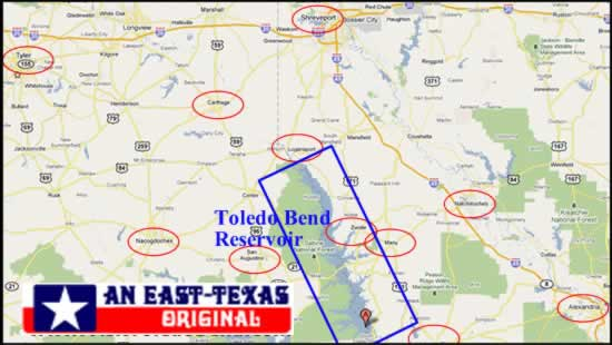 Toledo Bend Map Toledo Bend Reservoir and Lake along the Louisiana and Texas