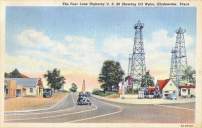 Four Lane Highway U.S. 80, Showing Oil Wells, Gladewater, Texas