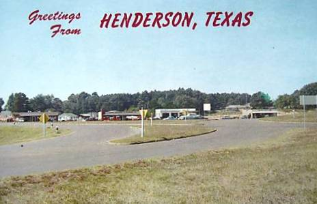 Historic postcard of the traffic circle in Henderson Texas