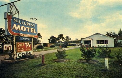 Historic Postcard Of The Hillcrest Motel Mt Pleasant Texas