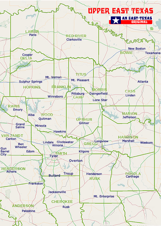 Map of East Texas counties and cities