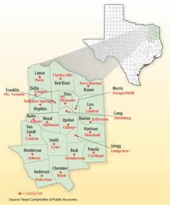 County Map Of East Texas